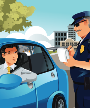cop giving male driver traffic ticket